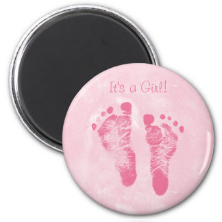 Cute Baby Girl Footprints Birth Announcement 2 Inch Round Magnet