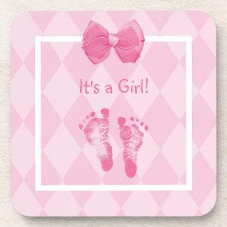 Cute Baby Girl Footprints Birth Announcement Beverage Coaster