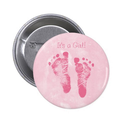Cute Baby Girl Footprints Birth Announcement Pin