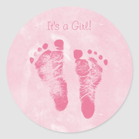 cute baby girl footprints birth announcement classic round sticker