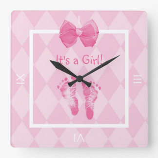 Cute Baby Girl Footprints Birth Announcement Wall Clock