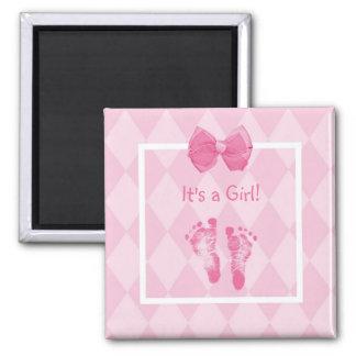 Cute Baby Girl Footprints Birth Announcement Magnet