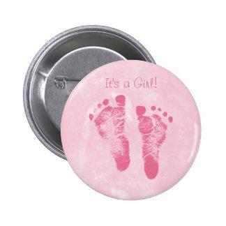 Cute Baby Girl Footprints Birth Announcement Pinback Button