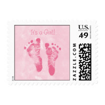 Cute Baby Girl Footprints Birth Announcement Postage