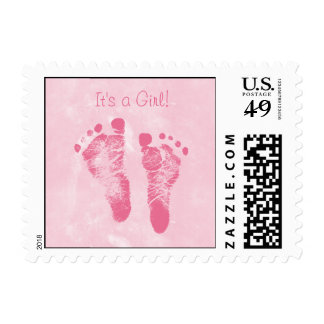 Cute Baby Girl Footprints Birth Announcement Stamp