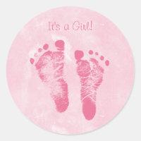 Cute Baby Girl Footprints Birth Announcement Round Sticker