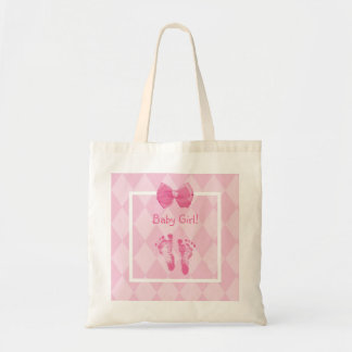 Cute Baby Girl Footprints Birth Announcement Tote Bag
