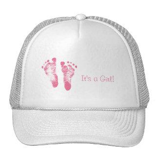Cute Baby Girl Footprints Birth Announcement Trucker Hat