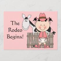 Cute Baby Girl & Horse Pony Custom Western Birth Announcement