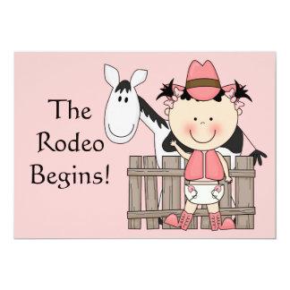 Cute Baby Girl & Horse Pony Custom Western Birth Card