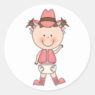 Cute Baby Girl & Horse Pony Custom Western Classic Round Sticker