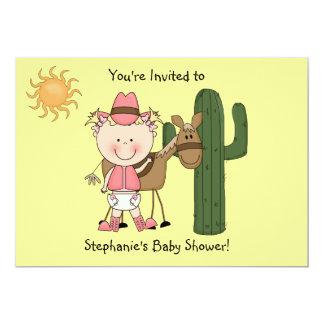 Cute Baby Girl & Horse Pony Custom Western Announcements