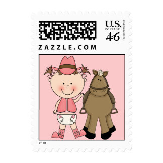 Cute Baby Girl & Horse Pony Custom Western Postage Stamps