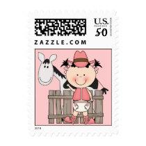 Cute Baby Girl & Horse Pony Custom Western Postage