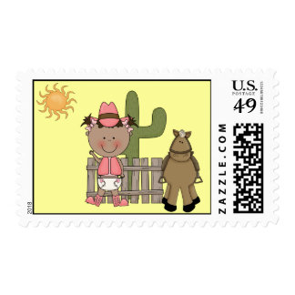 Cute Baby Girl & Horse Pony Custom Western Postage Stamp