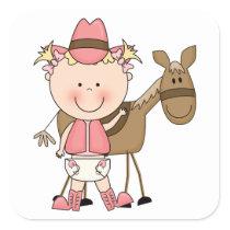 Cute Baby Girl & Horse Pony Custom Western Square Sticker