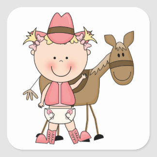Cute Baby Girl & Horse Pony Custom Western Square Sticker