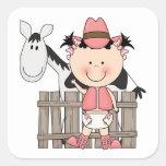 Cute Baby Girl & Horse Pony Custom Western Stickers