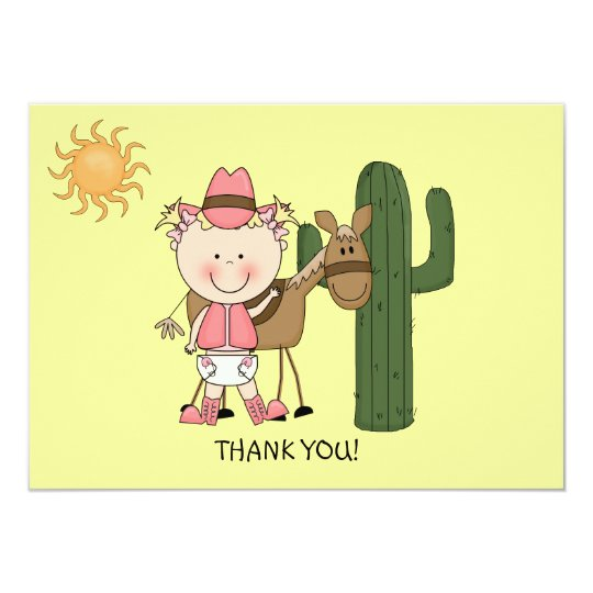 Cute Baby Girl Horse Pony Western Thank You Card