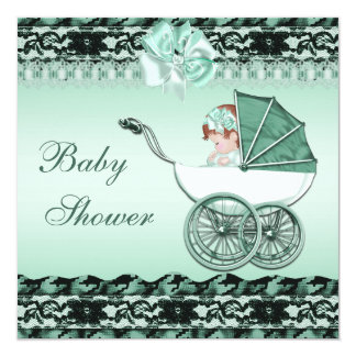 Cute Baby Girl in Green Carriage Baby Shower Card