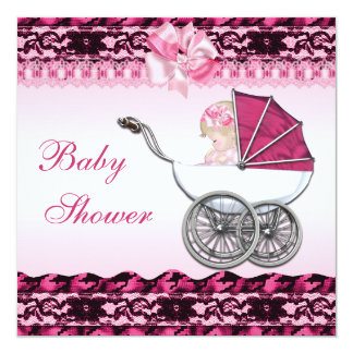 Cute Baby Girl in Pink Carriage Baby Shower Card
