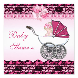 Cute Baby Girl in Pink Carriage Baby Shower Personalized Invitations