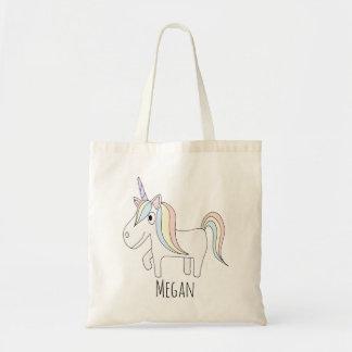 Cute Baby Girl Magical Unicorn with Name Diaper Tote Bag