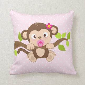 Cute Baby Girl Monkey Pink Polka Dots Throw Pillow