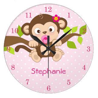 Cute Baby Girl Monkey Pink Polka Dots Wall Clocks