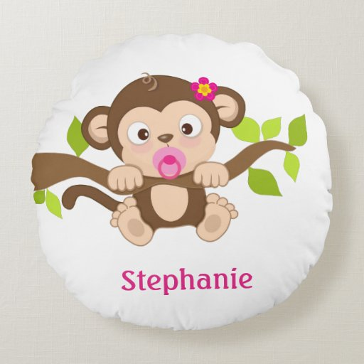 Cute Baby Girl Monkey Round Pillow Zazzle