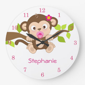 Cute Baby Girl Monkey Wall Clocks
