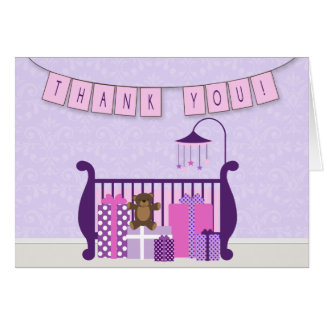 Cute Baby Girl Nursery Thank You Note Greeting Card