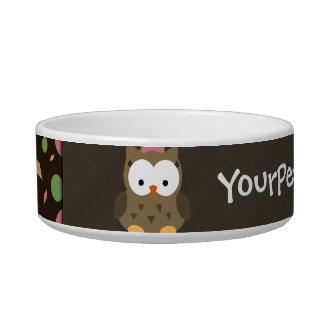 Cute Baby Girl Owl, Pink/Green/Brown Bowl