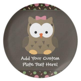 Cute Baby Girl Owl, Pink/Green/Brown Dinner Plate