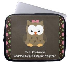 Cute Baby Girl Owl, Pink/Green/Brown Laptop Sleeve