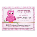Cute baby girl owl shower template invitation