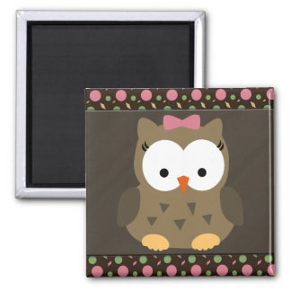 Cute Baby Girl Owl with Pink Bow 2 Inch Square Magnet