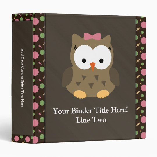 Cute Baby Girl Owl With Pink Bow 3 Ring Binder