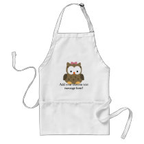 Cute Baby Girl Owl with Pink Bow Adult Apron