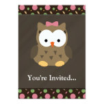 Cute Baby Girl Owl with Pink Bow Announcements