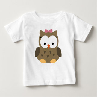 Cute Baby Girl Owl with Pink Bow Baby T-Shirt