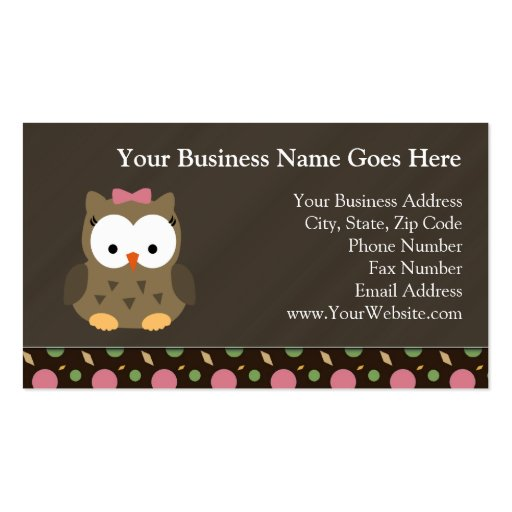 Cute Baby Girl Owl with Pink Bow Business Card