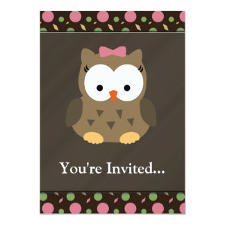Cute Baby Girl Owl with Pink Bow Card