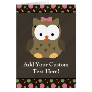 Cute Baby Girl Owl with Pink Bow Greeting Card
