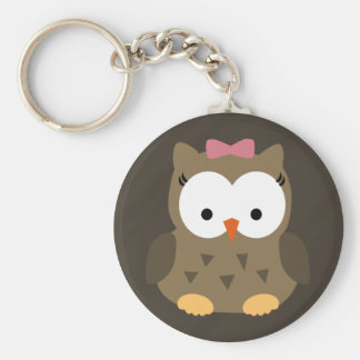 Cute Baby Girl Owl with Pink Bow Keychain