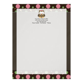 Cute Baby Girl Owl with Pink Bow Letterhead