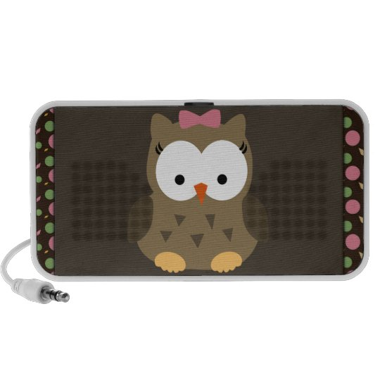Cute Baby Girl Owl with Pink Bow Mini Speaker