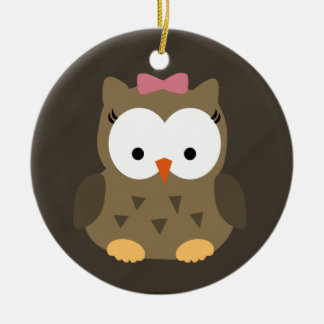 Cute Baby Girl Owl with Pink Bow Double-Sided Ceramic Round Christmas Ornament