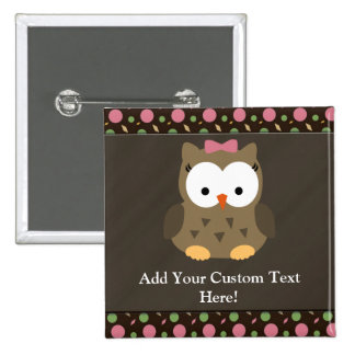 Cute Baby Girl Owl with Pink Bow Pinback Button