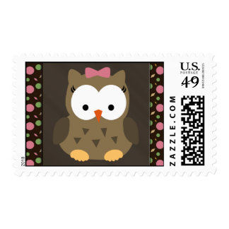 Cute Baby Girl Owl with Pink Bow Postage